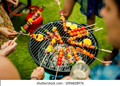 Barbecue dinner at a summer party