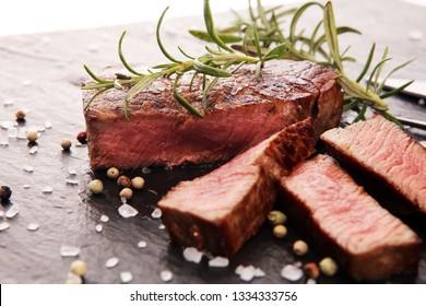 Barbecue filet Steak. Black Angus Prime meat steaks Tenderloin fillet mignon