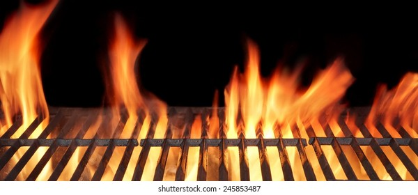 Barbecue Fire Grill close-up, isolated on Black Background