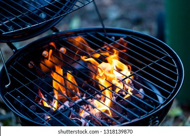 Barbecue fire with round grill. Food preparing concept with bbq fire on grill.