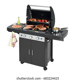 Barbecue Gas Grill with Food Isolated on White Background. Stainless Steel and Black BBQ Grillware Gas Grill. Outdoor Cooking Station. Outdoor Grill Table. Clipping Path