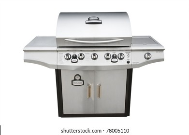 Barbecue gas grill in stainless steel, isolated with shadow and clipping path over white.