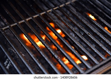 Barbecue grill with bright flames