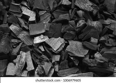 Barbecue grill coal close up. Black charcoal texture background