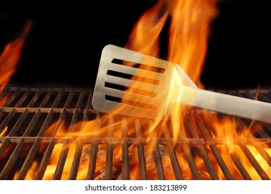 Barbecue Grill Fire Flame Hot Spatula, with space for text or image.