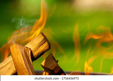 Barbecue Grill. Fire flame on green grass background. Barbecue Grill with Fire on Open Air.
