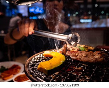 Barbecue grill steak for lunch meal