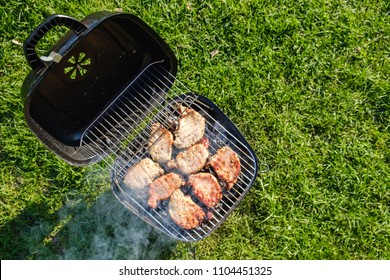 Barbecue grill with various kinds of meat. Placed on grass lawn, top view above