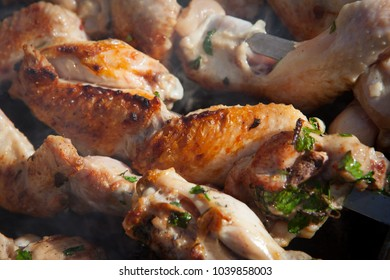 Barbecue grilled chicken on skewers for a festive meal