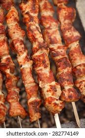 Barbecue Grilled pork kebabs meat lamb kebab marinated caucasus barbecue meat shashlik shish kebab outdoors picnic, soft selective focus , series