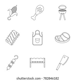 Barbecue icons set. Outline set of 9 barbecue  icons for web isolated on white background