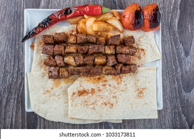 Barbecue meat. Grilled lamb skewers on plate.