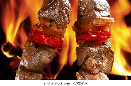 barbecue on flaming hot