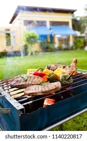 Barbecue on a grilling pan