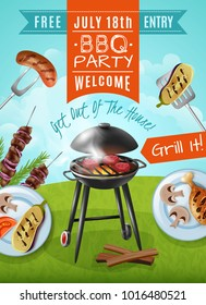Barbecue party poster with steaks on grill, plates with chicken and vegetables, meat on skewers  illustration