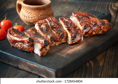 Barbecue pork spare ribs flat lay