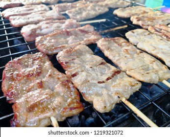 Barbecue pork Toast grill or Toast pork with Thai garnish nutrition preparation for cooking.Pork toast menu thai local food.