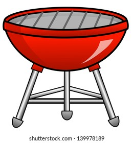 barbecue of red color on a white background, illustration