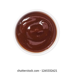 Barbecue sauce in bowl isolated on white background. Portion of Grill sauce