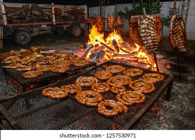Barbecue, sausage and cow ribs, typical argentinean food