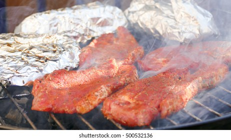 Barbecue smoke  closeup