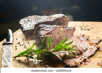 Barbecue smoked brisket in Texas. Southern bbq