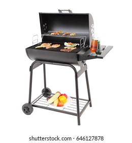 Barbecue Smoker with Food Isolated on White Background. Barbecue Grill. BBQ Grillware Grill. Outdoor Cooking Station. Outdoor Grill Table. Clipping Path