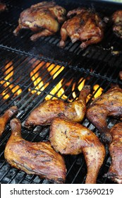 Barbecued chicken pieces with Caribbean jerk marinade, Caribbean food, Martinique