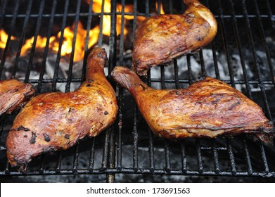 Barbecued chicken pieces with Caribbean jerk marinade, Caribben food, Martinique