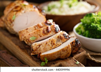 Barbecued turkey breast with honey mustard glaze and broccoli