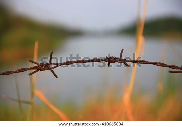 Barbed wire barrier between the meadows and canal
