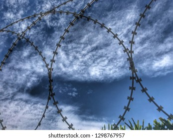 Barbed wire fence detail against of the day dramatic sky taken close up.