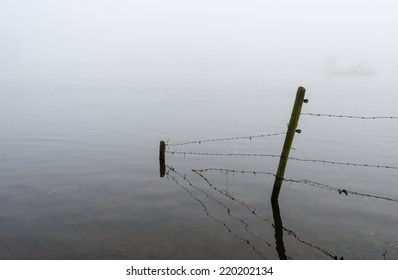 Barbed wire fence with dewy spider web in the flooded land on the banks of the river on a grey and foggy morning at the beginning of autumn.