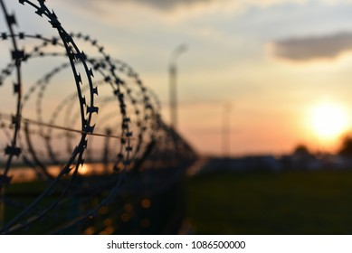 barbed wire fence on the fence on sunset background