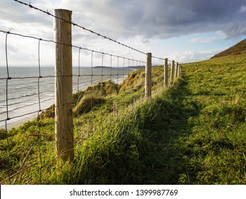 Barbed wire fence on the top of a sand dune to stop further erosion or accidents involving people walking to close to the edge - Gower, UK
