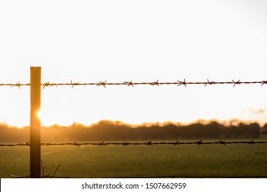 a barbed wire fence at sunset