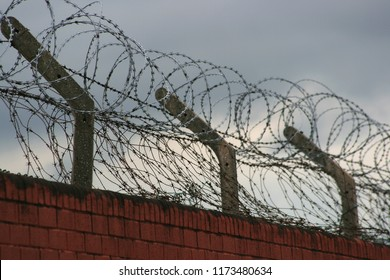Barbed wire on brick wall. Menacing scene.