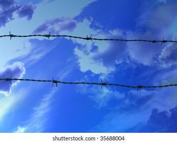 barbed wire on a clear blue sky