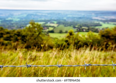 Barbed wire on a landscape