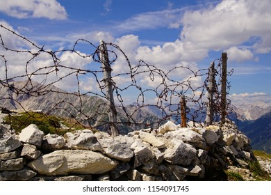 Barbed wire on top of Italian trench from World War I, Monte piana, Dolomites Alps, Italy