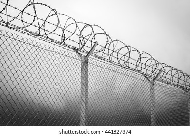 Barbed wire - restricted area, black and white
