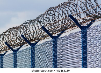 Barbed wire - restricted area. Color photo