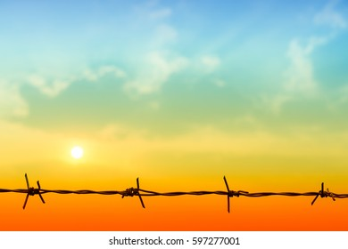 barbed Wire sky cloud sunrise abstract background