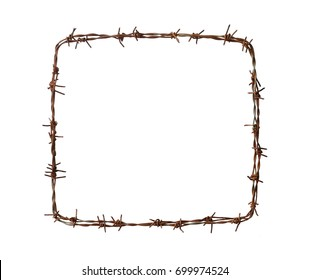 Barbed wire square isolated on white background