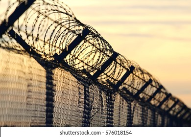 barbed wire steel wall against the immigations in europe