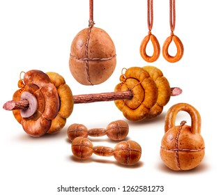Barbell, dumbbells, weight, punching bag, gymnastic rings. Meat product in the form of a sports objects. Health. Image on a white background.Isolated image.