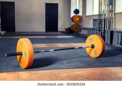 Barbell on the floor. Weightlifting hall. Powerlifting.
