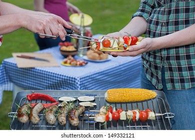 A barbeque dinner with tasty freshly grilled food