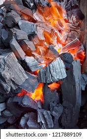 Barbeque fire with coal,