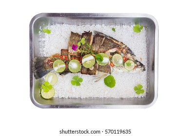 barbeque white snapper fish on white background